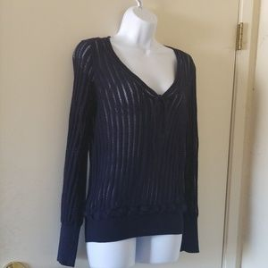 Guinevere blue ribbed sweater from Anthropologie